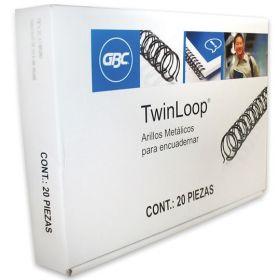 ESPIRAL METALICO TWIN LOOP NEGRO 1/2 C/20 PZAS M500112 *