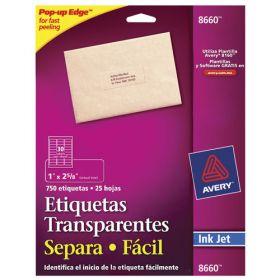 ETIQUETA AVERY NO.8660 INKJET TRANSPARENTE 2.5X6.7 CM C/750 *