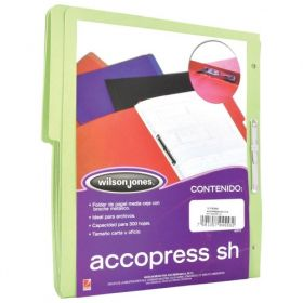 FOLDER ACCOPRESS C/BROCHE 8CMS CARTA VERDE CLARO