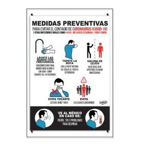 SEÑAL EN ACRILICO MEDIDAS PREVENTIVAS CORONAVIRUS 35X24 NO.7777