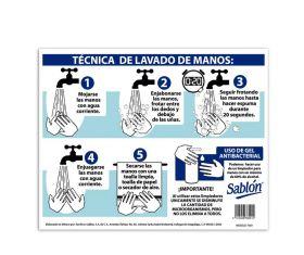 SEÑAL TIPO POSTER TECNICA LAVADO DE MANOS 40X34 NO.7865
