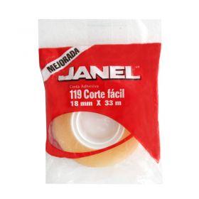 CINTA ADHESIVA JANEL NO.119 18X33 TRANSPARENTE             *