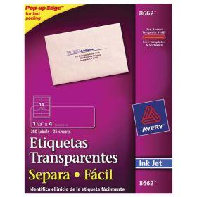ETIQUETA AVERY NO.8662 INKJET TRANSPARENTE 3.4X10.2 CM C/350 *