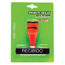SELLO DE GOMA C/LEYENDA DE RECIBIDO 30001BN                        *